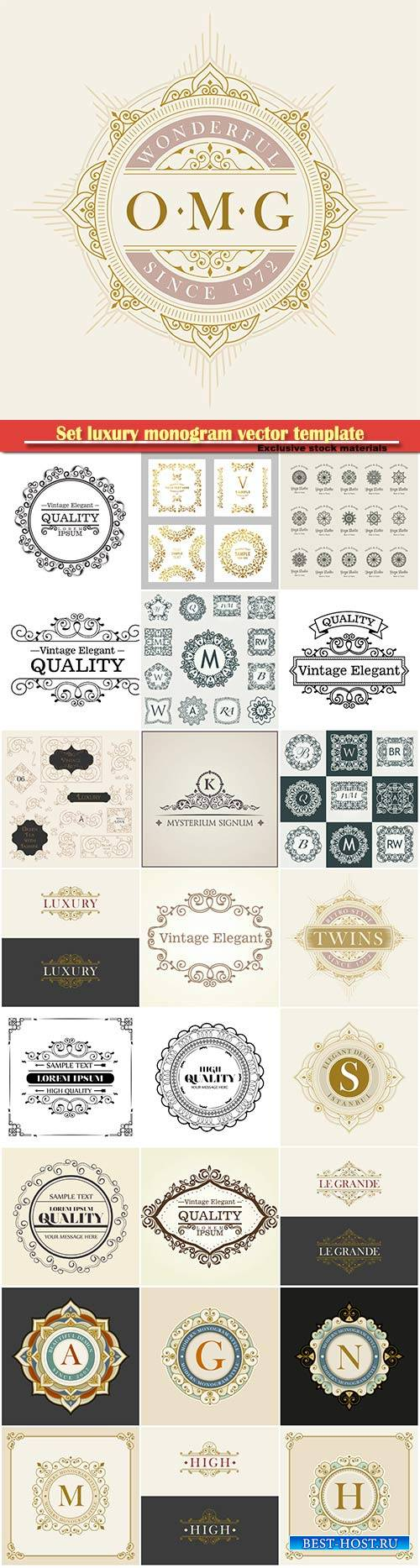 Set luxury monogram vector template, logos, badges, symbols # 4