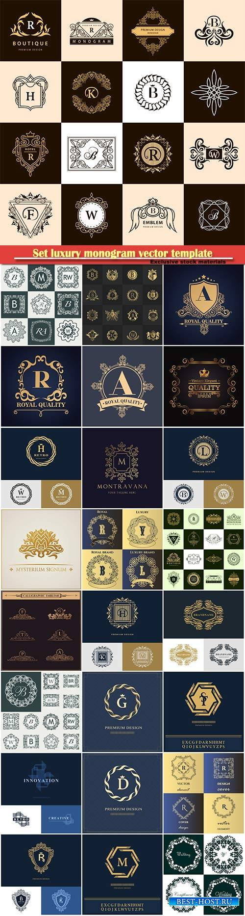 Set luxury monogram vector template, logos, badges, symbols # 3