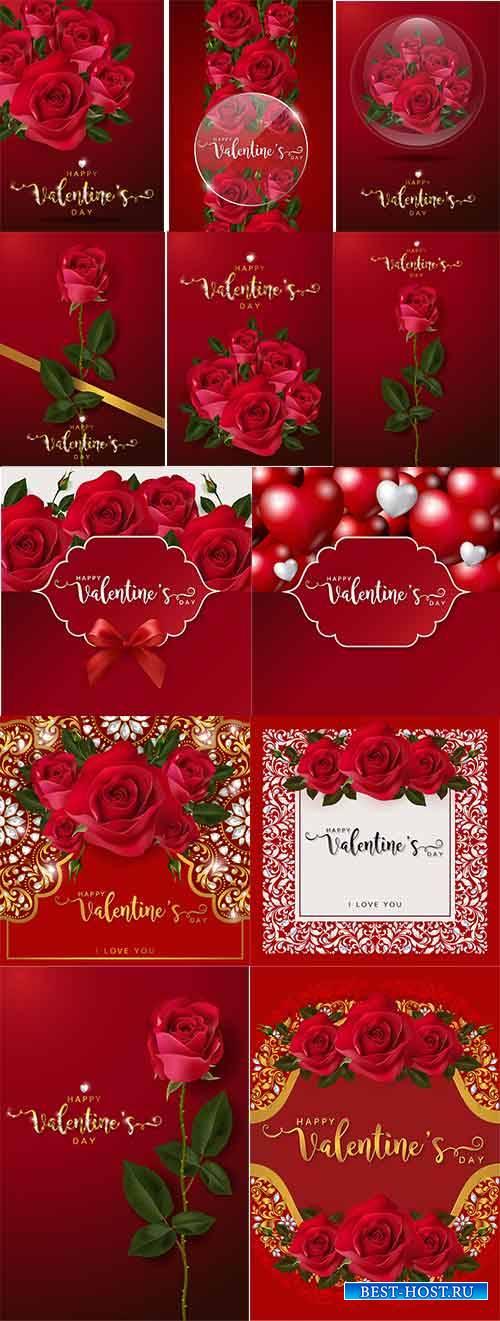 Романтические фоны с розами - Векторный клипарт / Romantic backgrounds with ...
