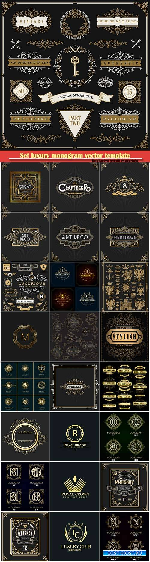 Set luxury monogram vector template, logos, badges, symbols # 15