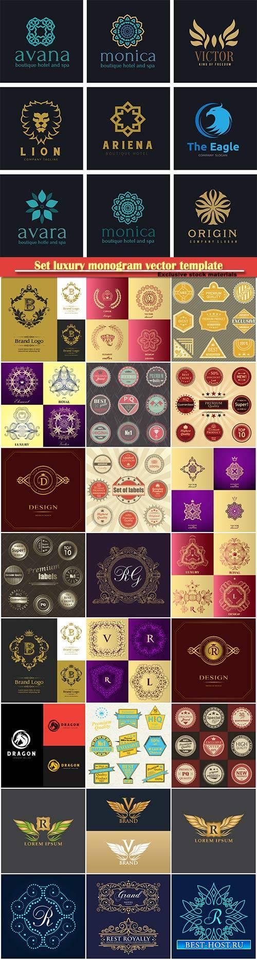 Set luxury monogram vector template, logos, badges, symbols # 6