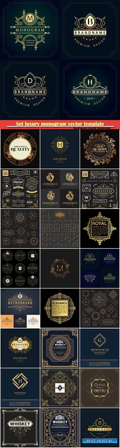 Set luxury monogram vector template, logos, badges, symbols # 12