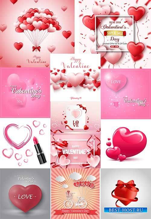Романтические фоны с сердцами - 4 - Векторный клипарт / Romantic heart back ...