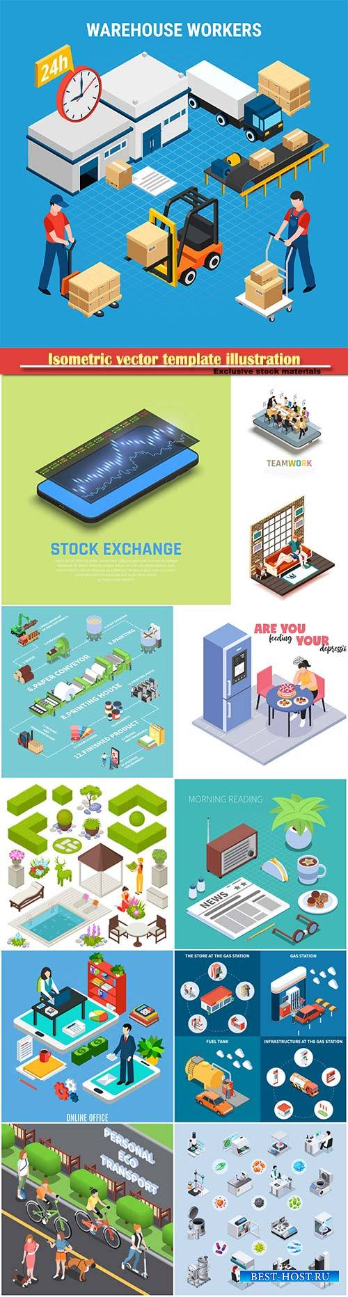 Isometric vector template illustration # 4