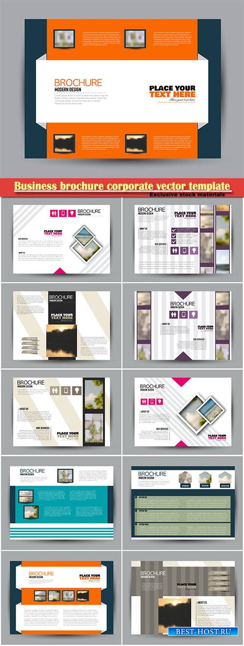 Business brochure corporate vector template, magazine flyer mockup # 9