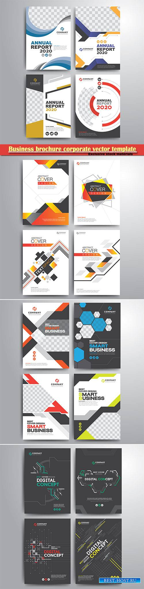 Business brochure corporate vector template, magazine flyer mockup # 10