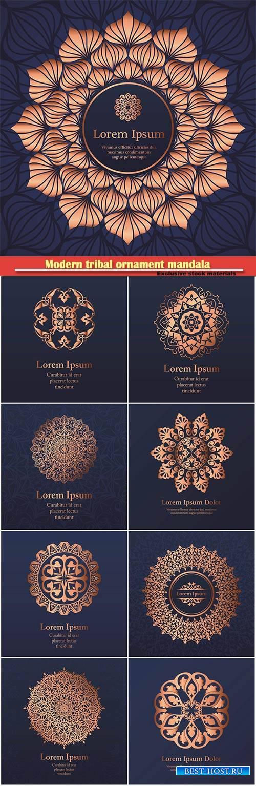 Wedding vector invitation, modern tribal ornament mandala background