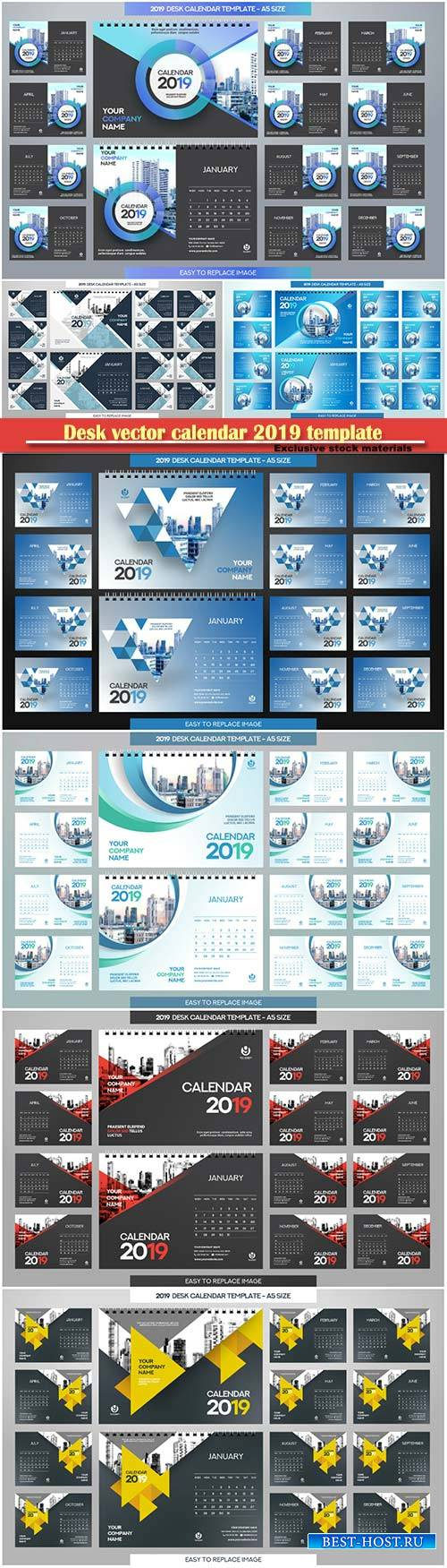 Desk vector calendar 2019 template, 12 months included