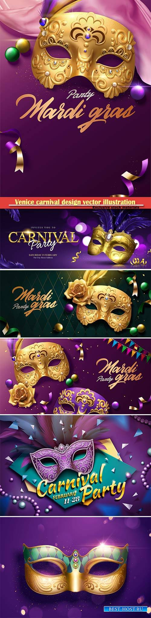 Venice carnival design vector illustration, Mardi gras # 8