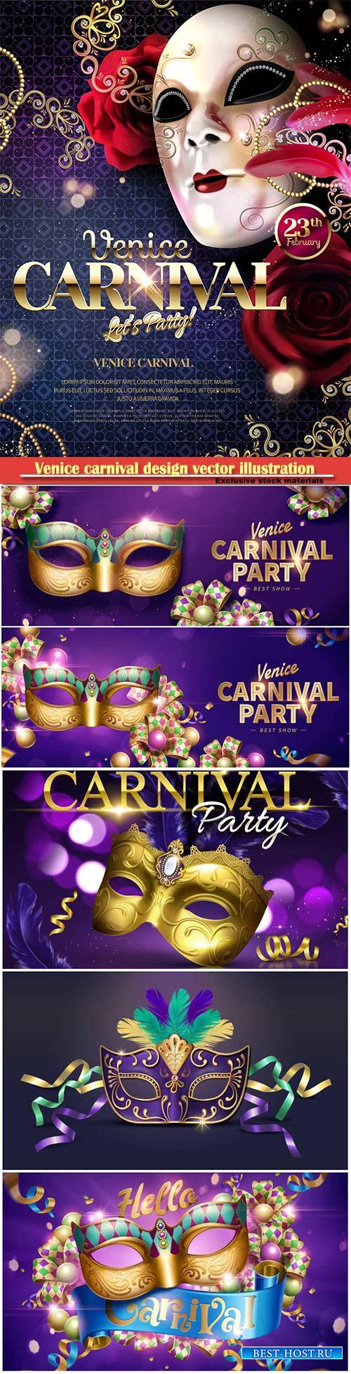 Venice carnival design vector illustration, Mardi gras # 6