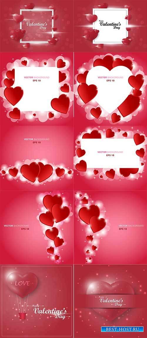 Романтические фоны с сердцами - 6 - Векторный клипарт / Romantic heart back ...