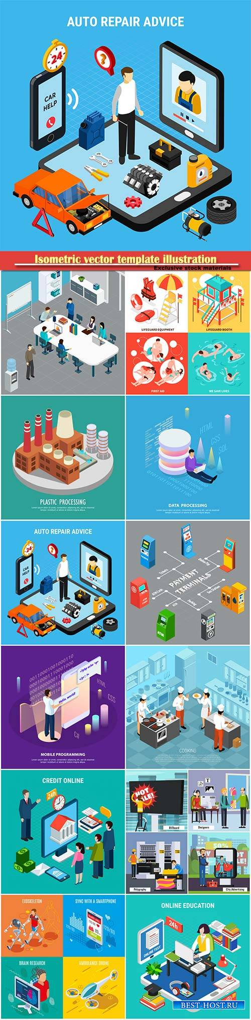 Isometric vector template illustration # 11
