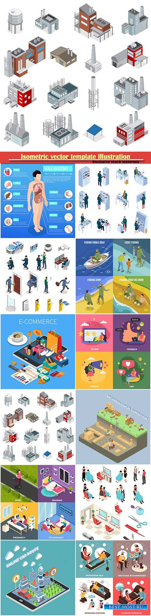 Isometric vector template illustration # 12
