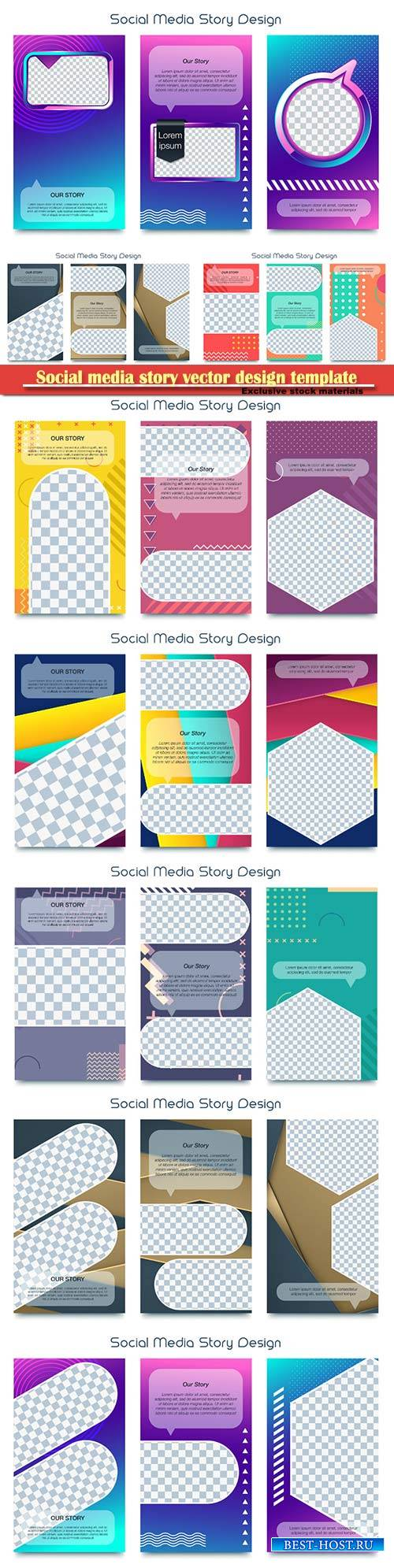 Social media story vector design template