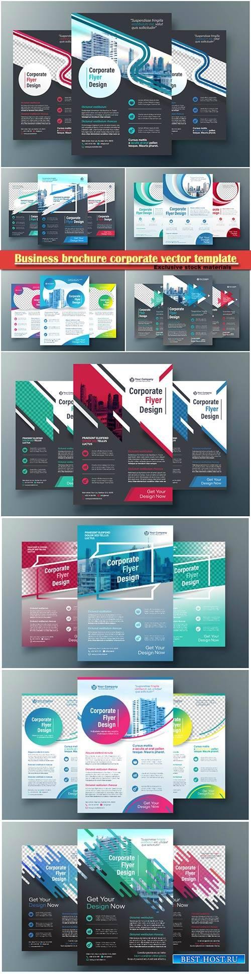Business brochure corporate vector template, magazine flyer mockup # 23