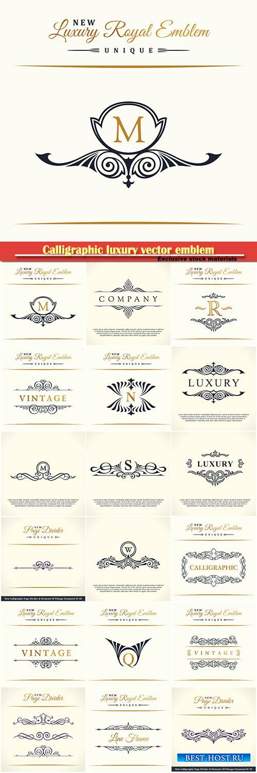 Calligraphic luxury vector emblem, monogram, label, logo