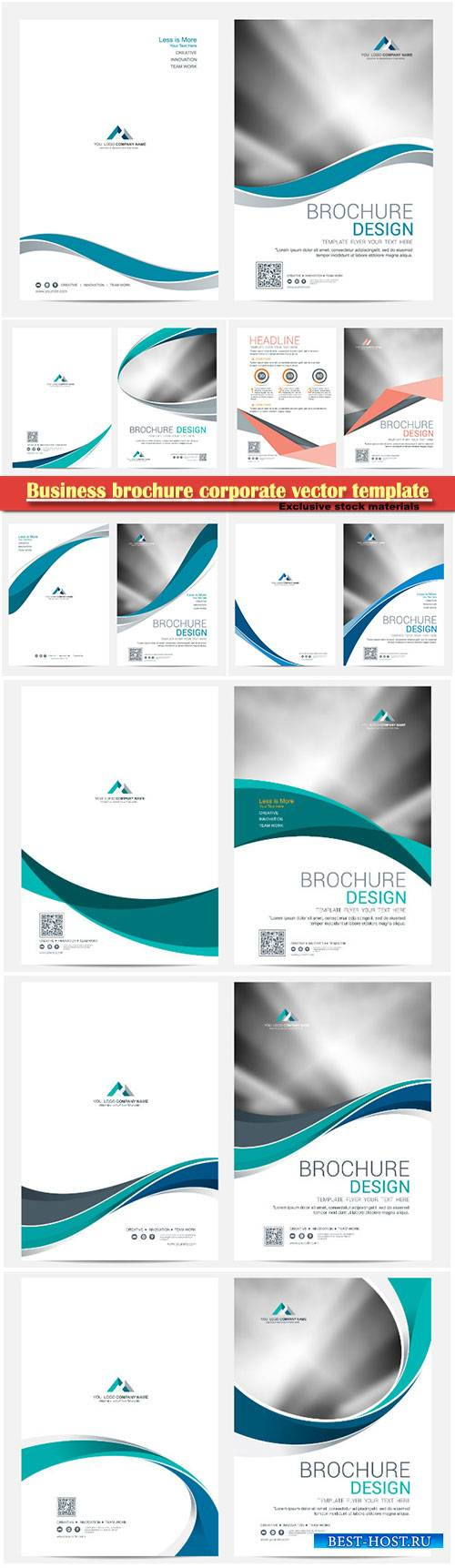 Business brochure corporate vector template, magazine flyer mockup # 24