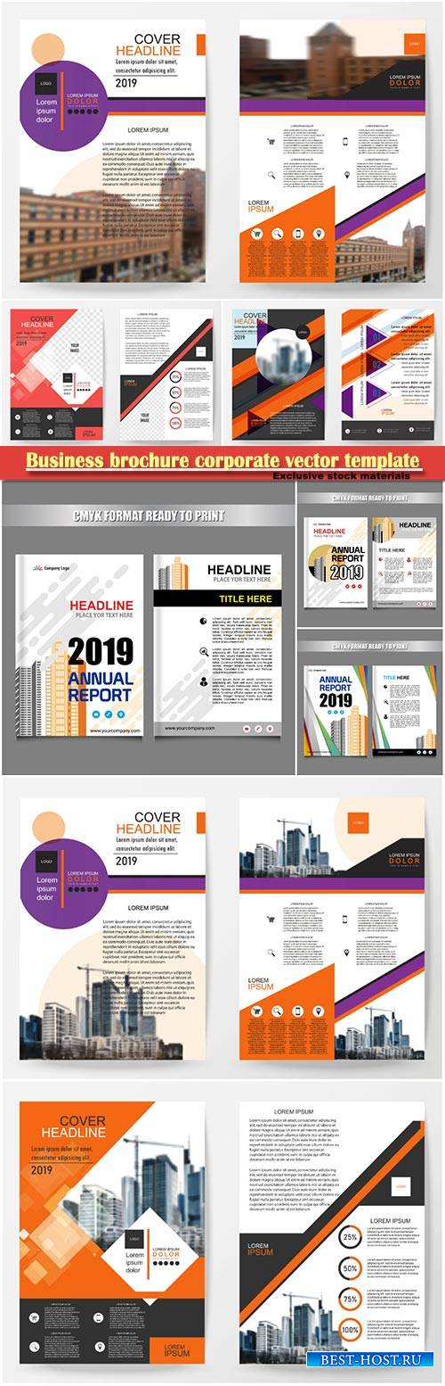 Business brochure corporate vector template, magazine flyer mockup # 21
