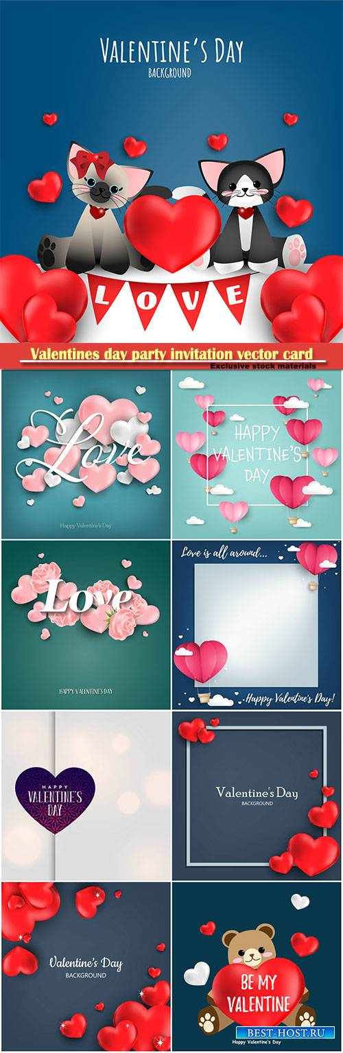 Valentines day party invitation vector card # 27