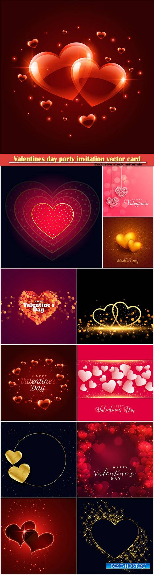 Valentines day party invitation vector card # 21