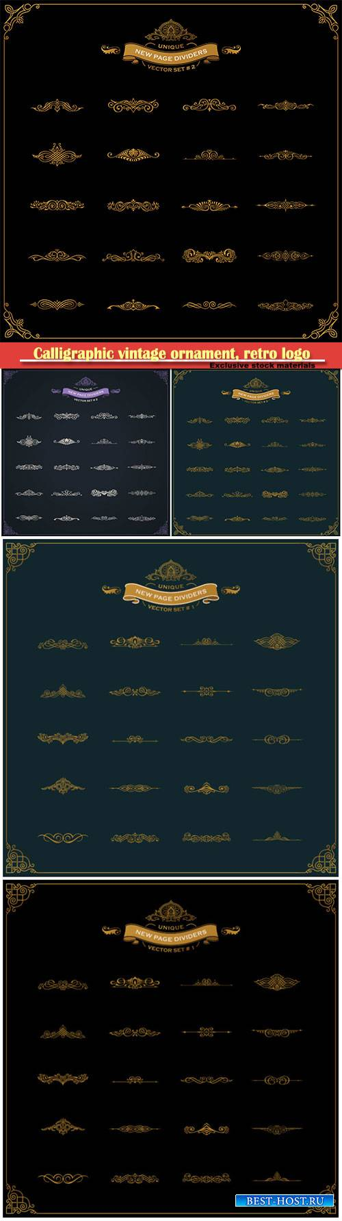 Calligraphic vintage ornament, retro logo and vector decorative border line
