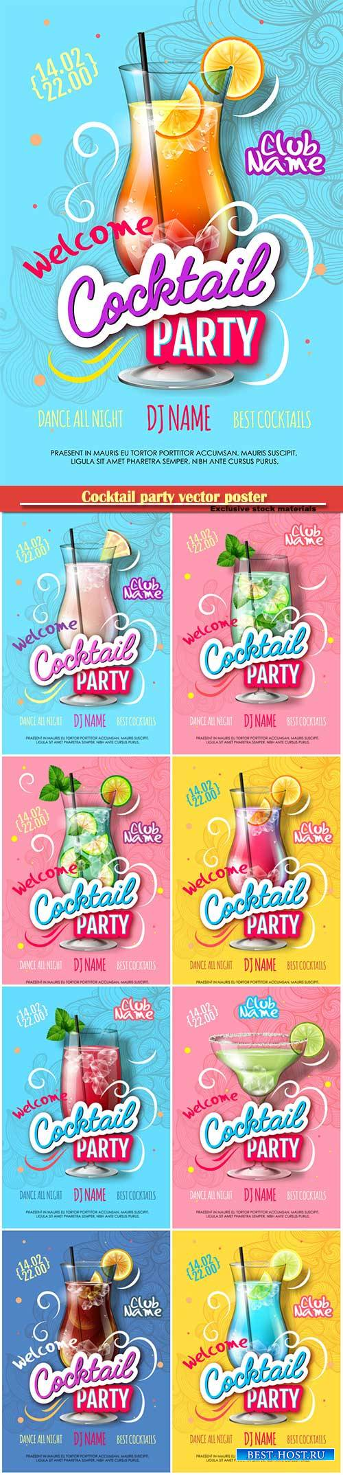 Cocktail party vector poster in modern style, Valentine's Day