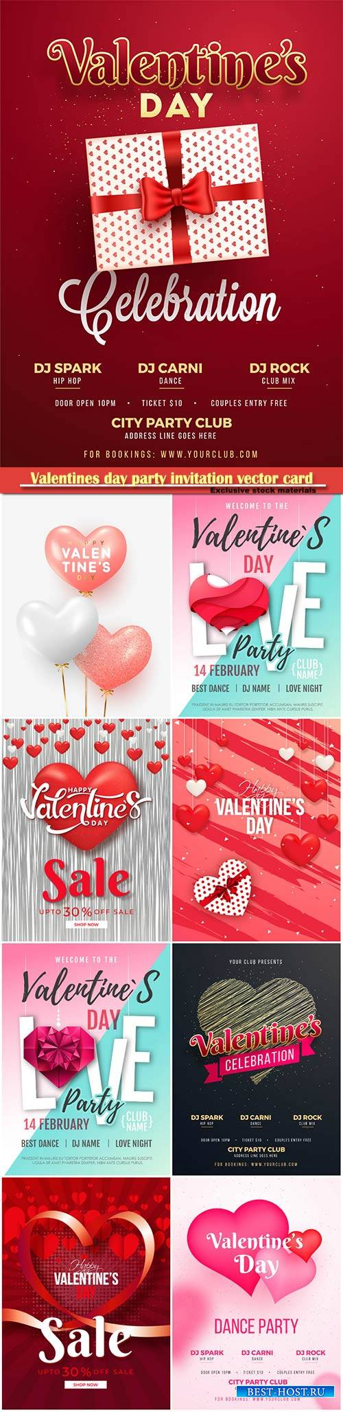 Valentines day party invitation vector card # 46