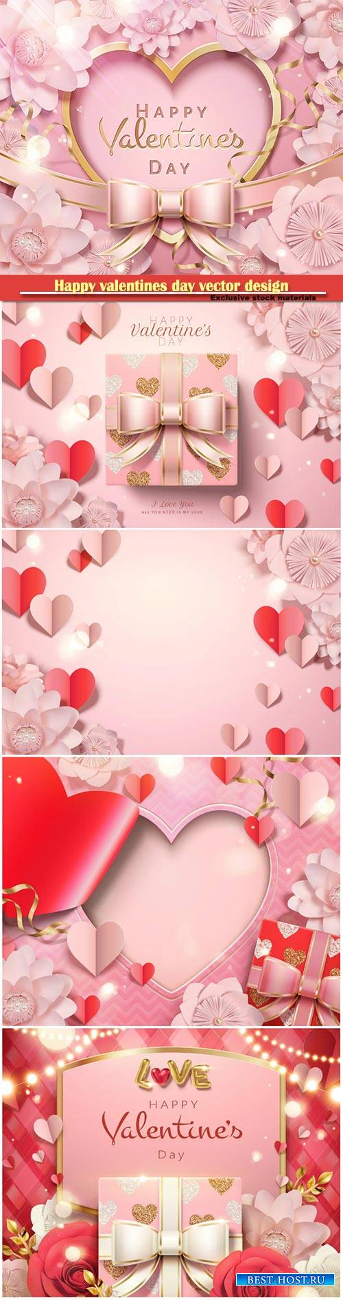 Happy valentines day vector design with heart, balloons, roses in 3d illust ...