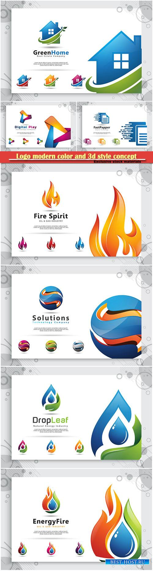 Logo modern color and 3d style concept, business and company identity # 3