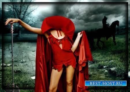 Фотошаблон для девушки - Девушка в красной накидке