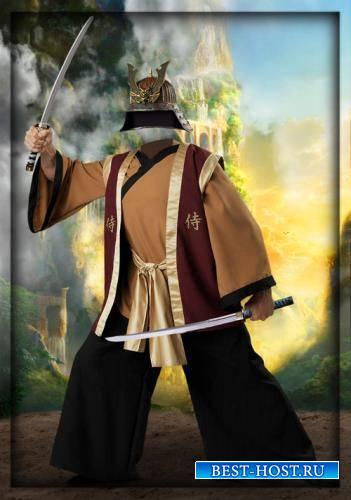 Фотошаблон для фотошопа - Мужественный самурай