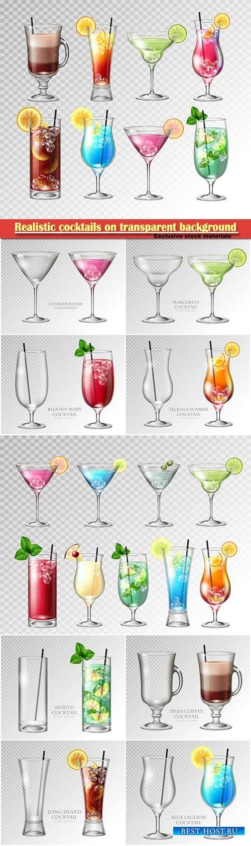 Realistic cocktails on transparent background vector illustration