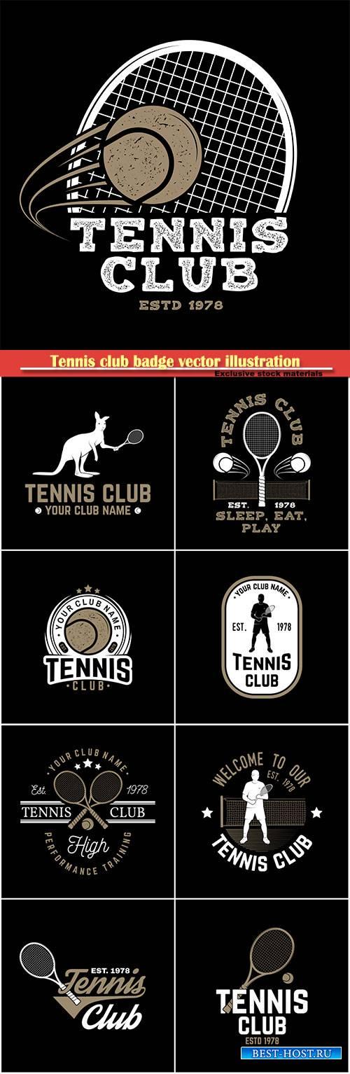 Tennis club badge vector illustration