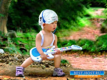 Фотошаблон для photoshop - Мальчик гитарист