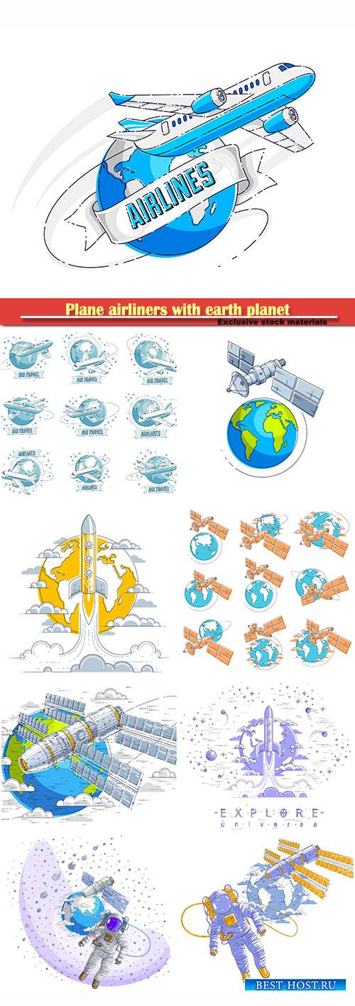 Plane airliners with earth planet and ribbon with typing, airlines air trav ...