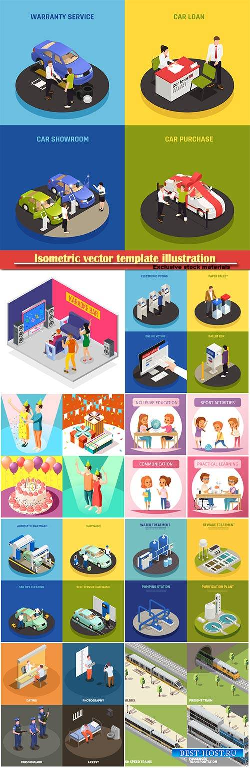 Isometric vector template illustration # 44