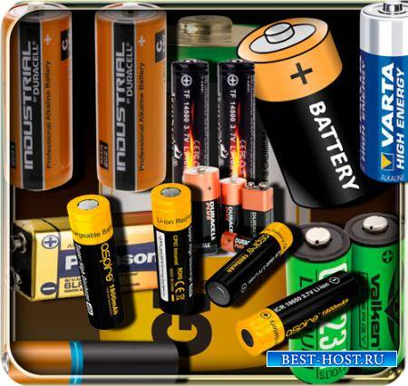 Png клипарты - Электрические батарейки