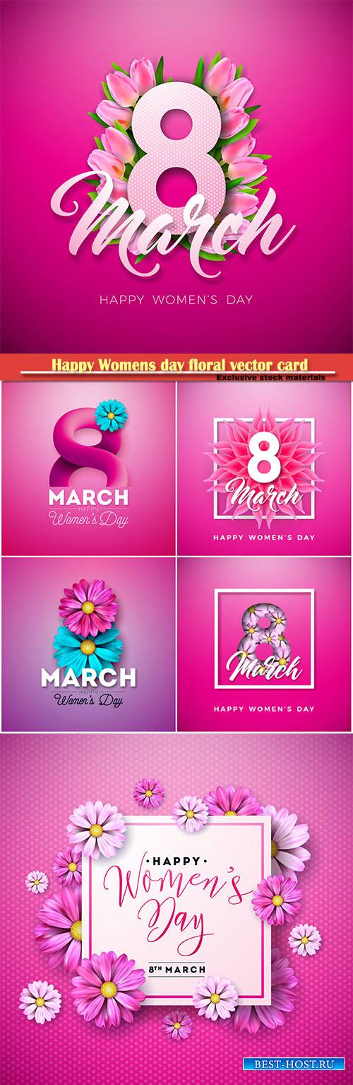 Happy Womens day floral greeting vector card design