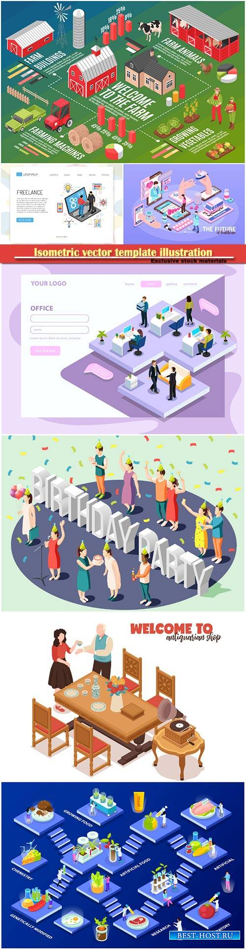 Isometric vector template illustration # 43