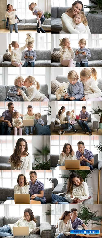 Счастливая семья - Растровый клипарт / Happy family - Raster clipart