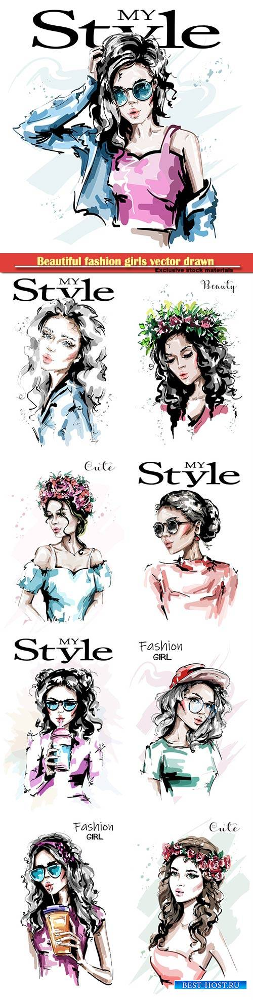 Beautiful fashion girls vector drawn illustrations