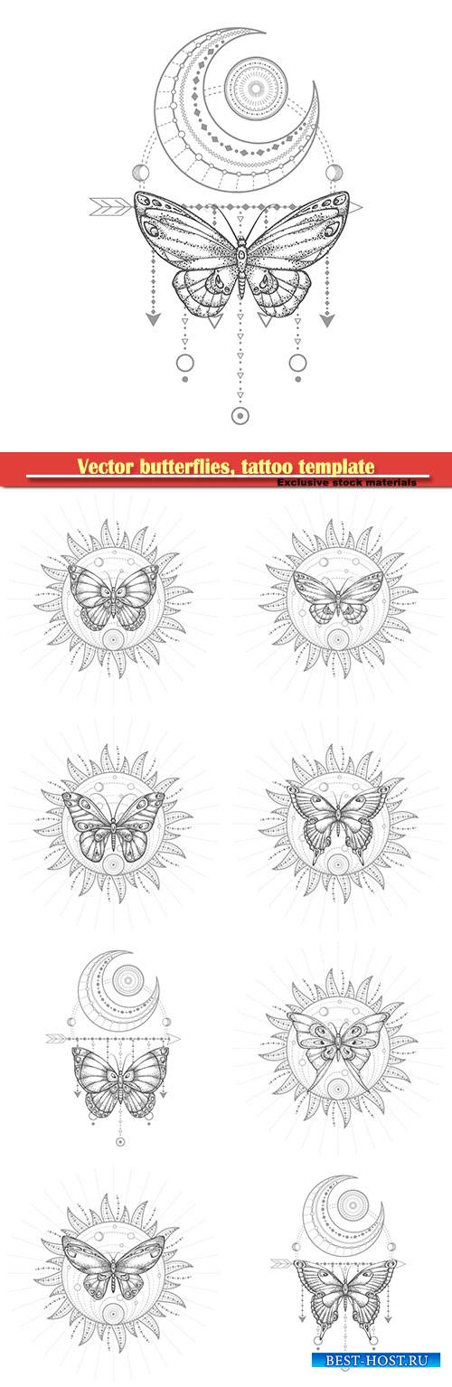 Vector butterflies, tattoo template