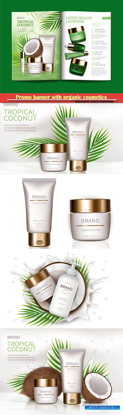 Mock up promo banner with organic cosmetics