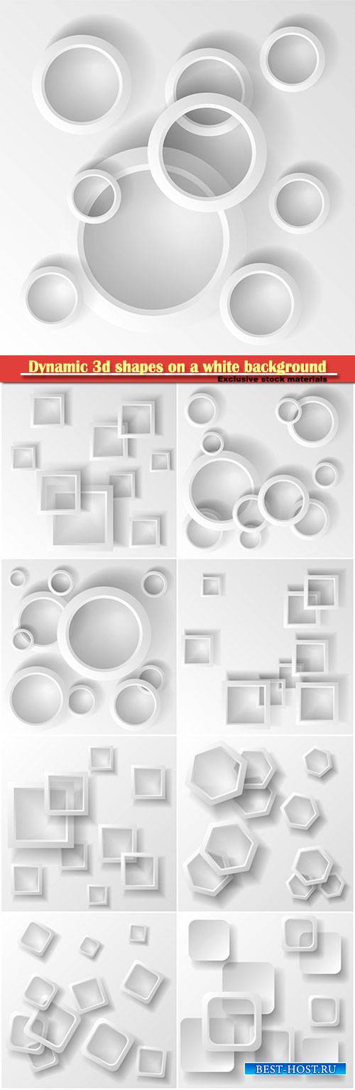 Dynamic 3d shapes on a white background, design for abstract geometric back ...