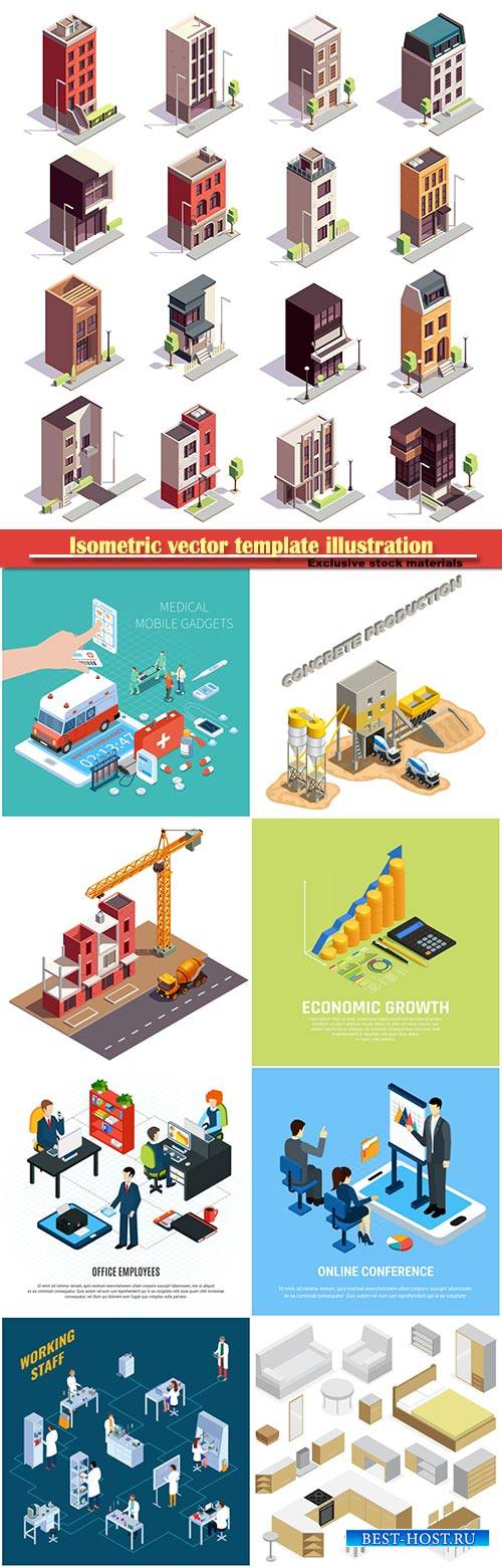 Isometric vector template illustration # 48