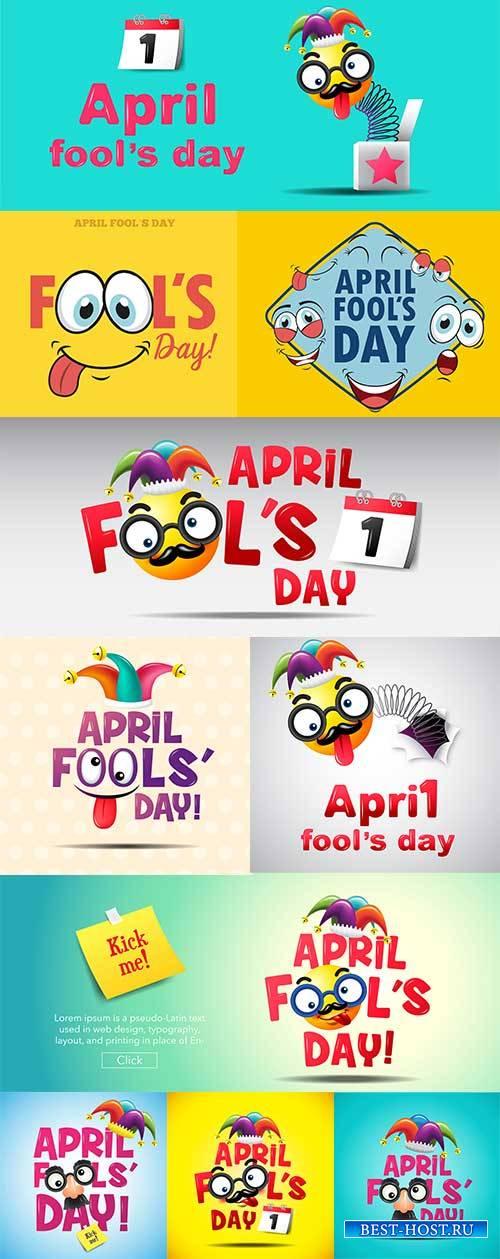 1 апреля - День смеха - Векторный клипарт / April 1 - April Fool's Day - V ...