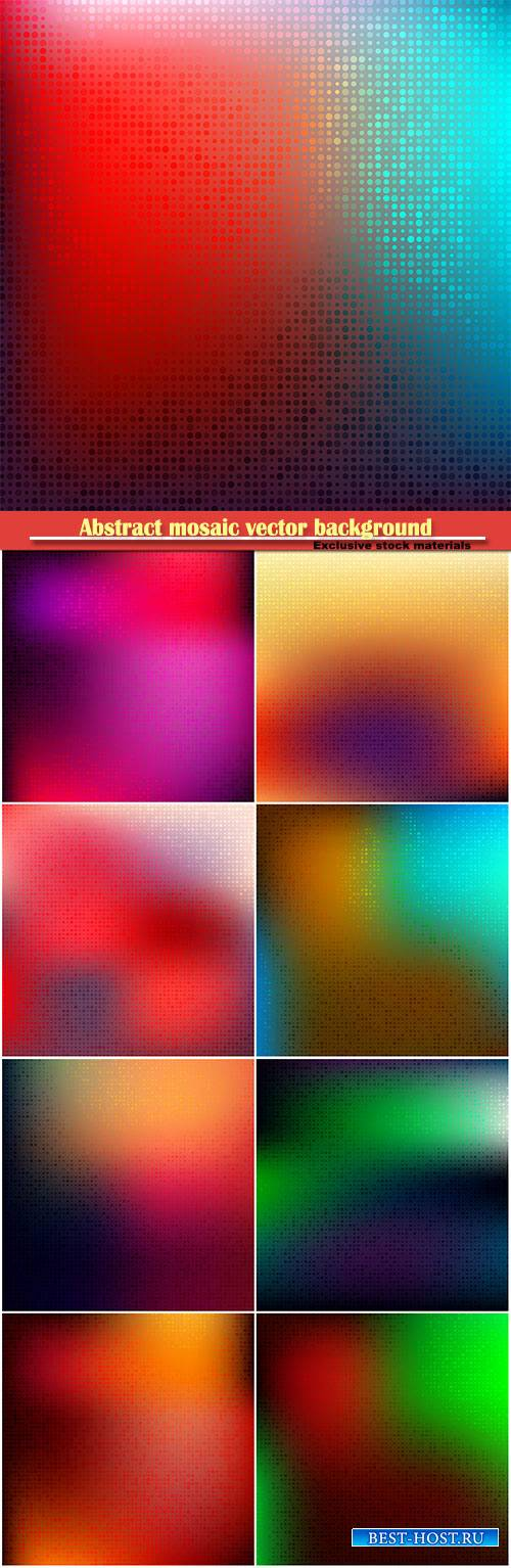Abstract mosaic vector background with halftone gradient effect