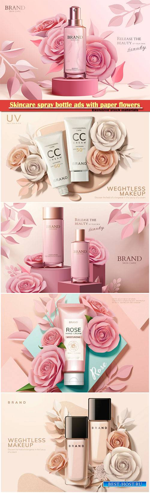 Skincare spray bottle ads with paper flowers, 3d illustration