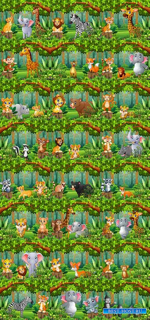 Звери в лесу - Векторный клипарт / Beasts in the forest - Vector Graphics