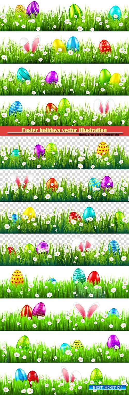 Easter holidays vector illustration, spring flowers card design template # 4